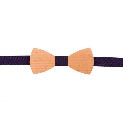 Cadbury Purple Panama Silk Beech Wood Bow Tie