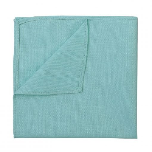 Light Turquoise Chambray Cotton Handkerchief / Pocket Square