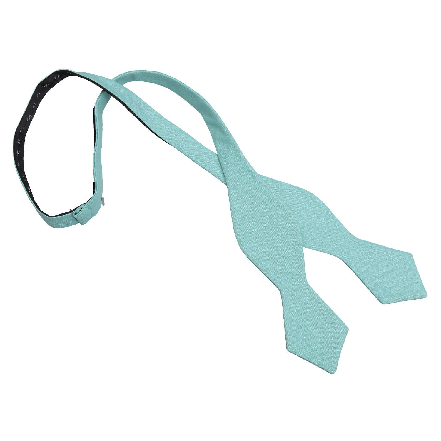 5f2ef82e50df JA Chambray Cotton Light Turquoise Pointed Self Tie Bow Tie