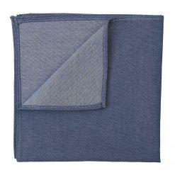 Navy Blue Chambray Cotton Pocket Square