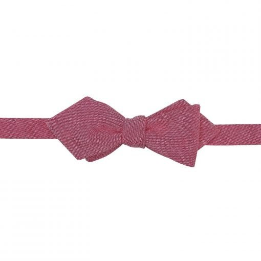 Coral Chambray Cotton Pointed Self Tie Bow Tie