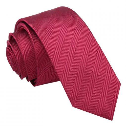 Burgundy Herringbone Silk Skinny Tie