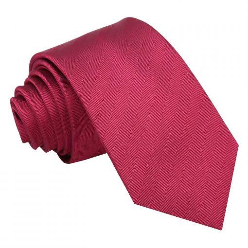 Burgundy Herringbone Silk Slim Tie