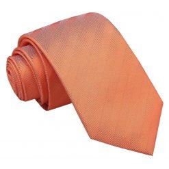 Coral Herringbone Silk Slim Tie