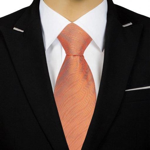Coral Herringbone Silk Classic Tie