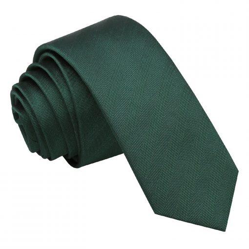 Dark Green Herringbone Silk Skinny Tie
