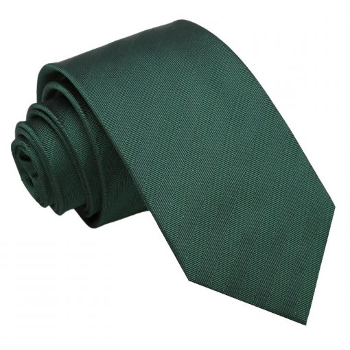 Dark Green Herringbone Silk Slim Tie