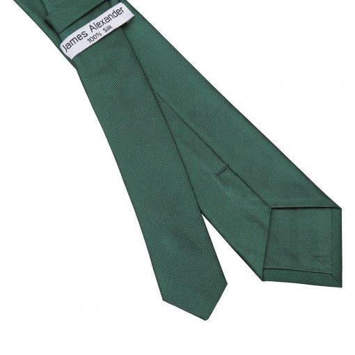 Dark Green Herringbone Silk Slim Tie