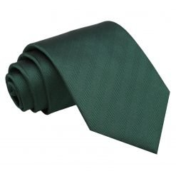 Dark Green Herringbone Silk Classic Tie
