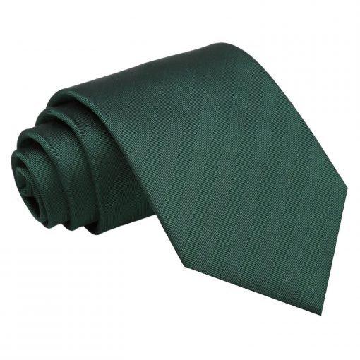 Dark Green Herringbone Silk Classic Tie