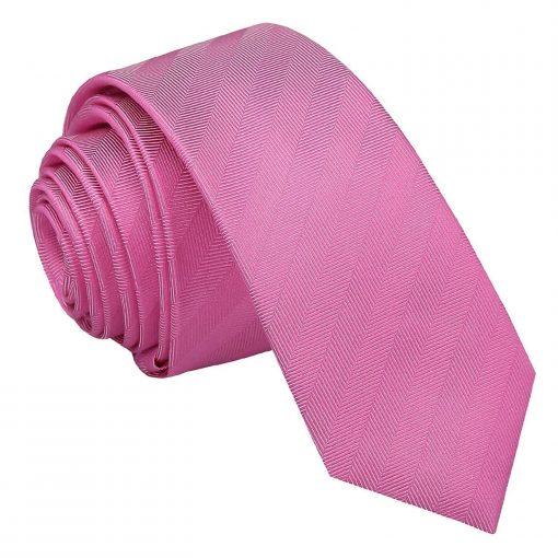 Fuchsia Pink Herringbone Silk Skinny Tie