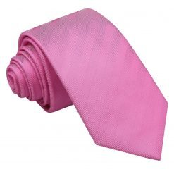 Fuchsia Pink Herringbone Silk Slim Tie