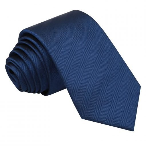 Midnight Blue Herringbone Silk Slim Tie