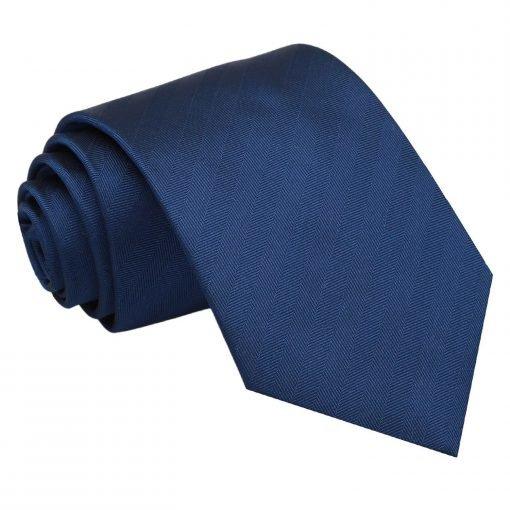 Midnight Blue Herringbone Silk Classic Tie
