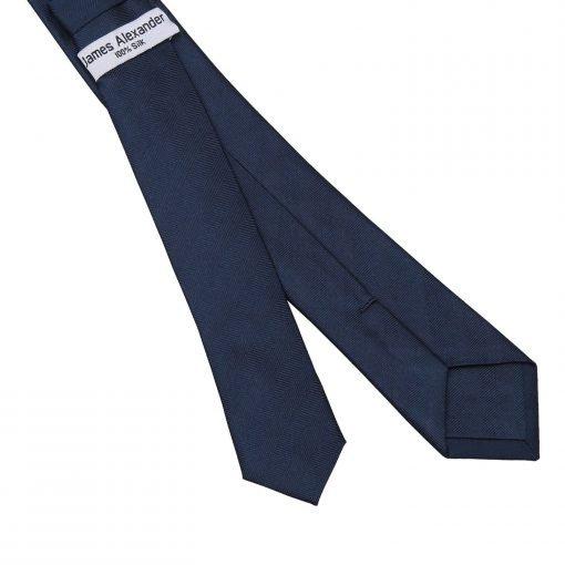 Navy Blue Herringbone Silk Skinny Tie