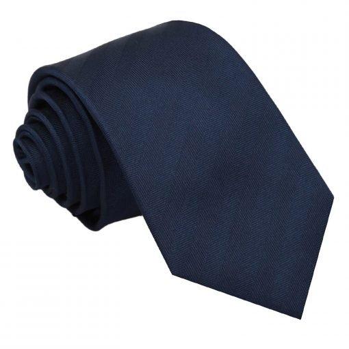 Navy Blue Herringbone Silk Slim Tie