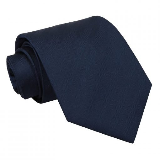 Navy Blue Herringbone Silk Classic Tie