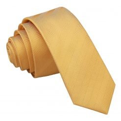 Primrose Yellow Herringbone Silk Skinny Tie
