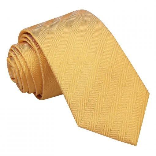 Primrose Yellow Herringbone Silk Slim Tie