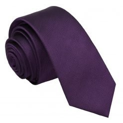 Purple Herringbone Silk Skinny Tie