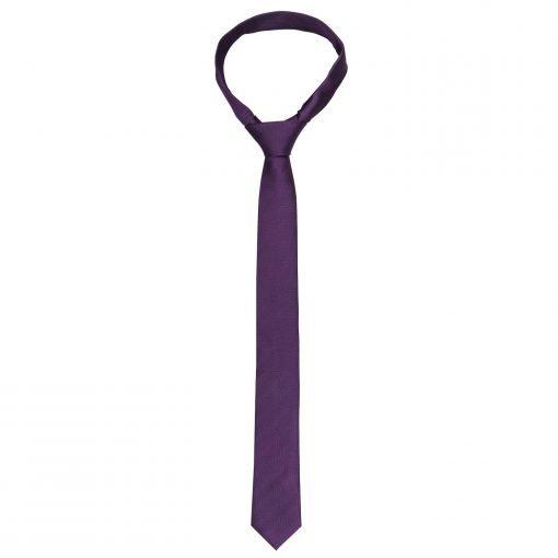 Purple Herringbone Silk Skinny Tie