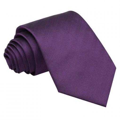 Purple Herringbone Silk Classic Tie