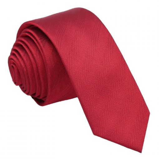 Red Herringbone Silk Skinny Tie