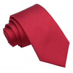 Red Herringbone Silk Slim Tie