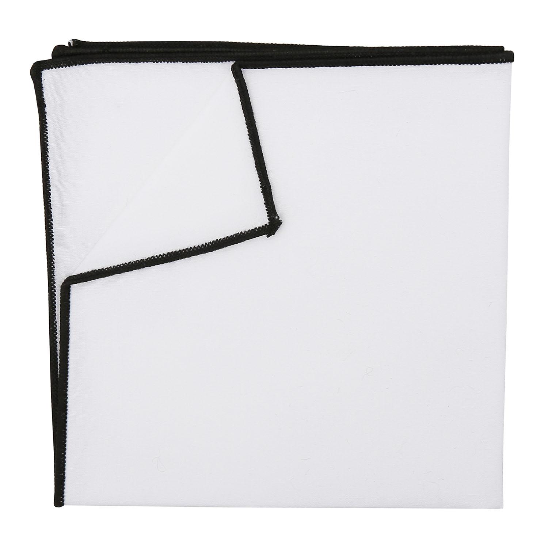e0c4a2e05046e White Cotton Pocket Square With Black Trim - James Alexander