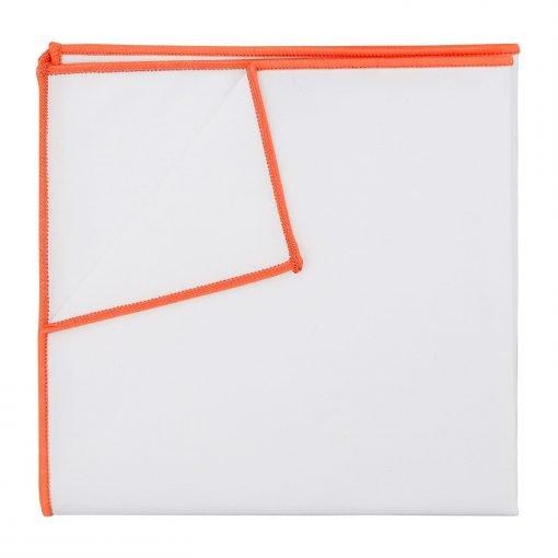 White Cotton Pocket Square With Tangerine Orange Trim