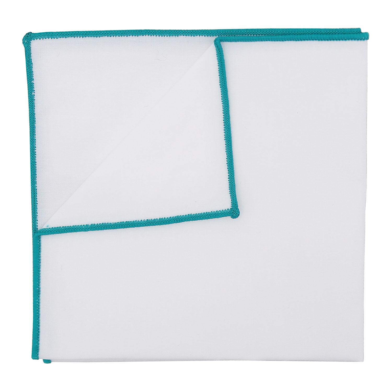 49ba9b2fd5f7 White Cotton Pocket Square With Teal Trim - James Alexander