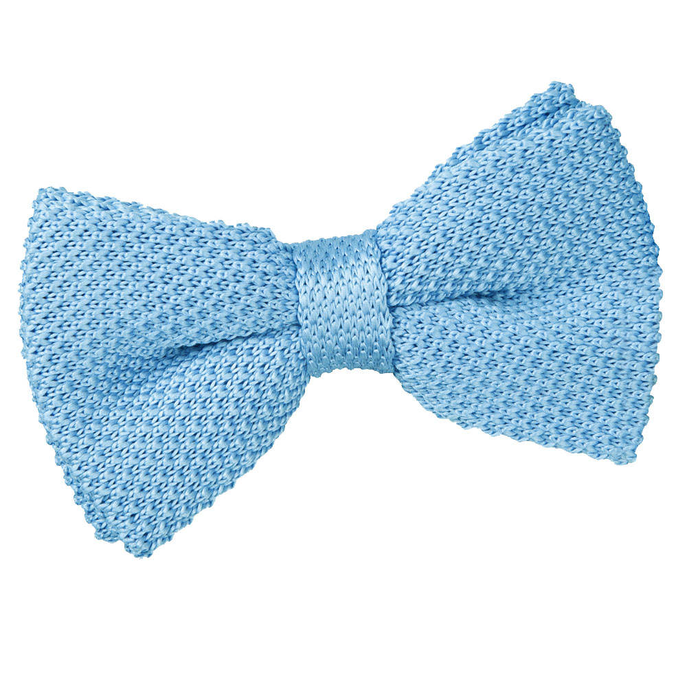 s knitted baby blue bow tie