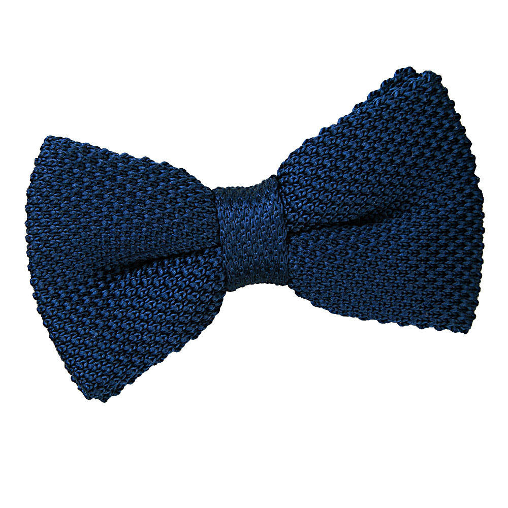 s knitted navy blue bow tie
