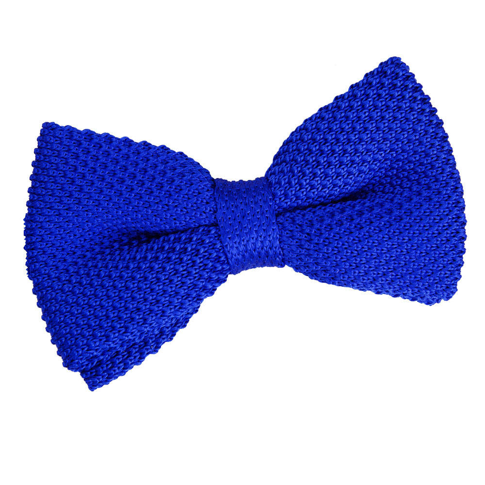 s knitted royal blue bow tie