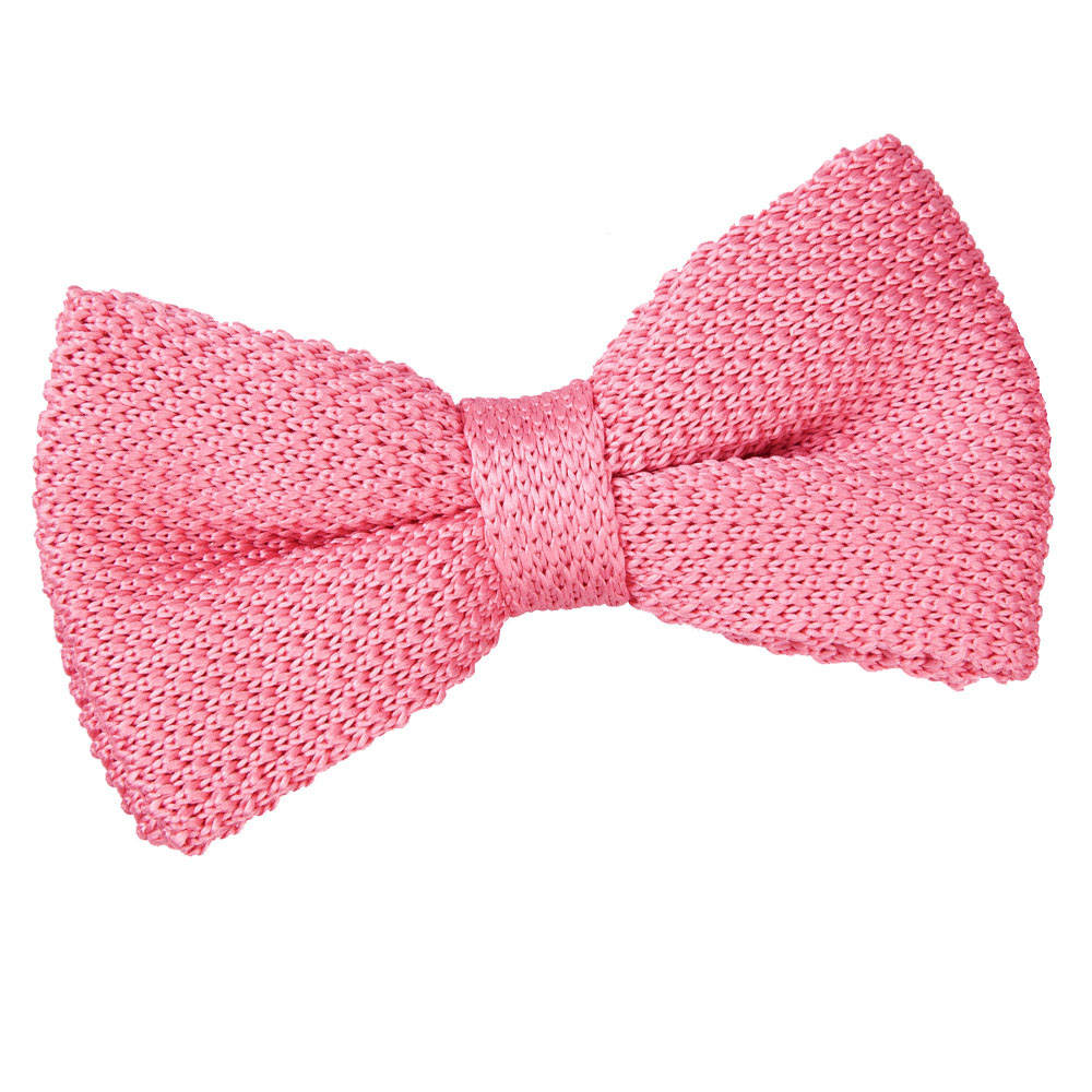 s knitted strawberry pink bow tie