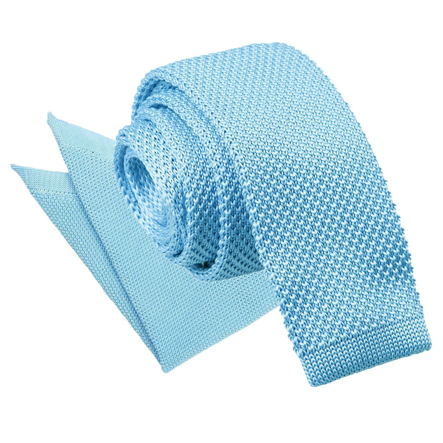 e5637d7b3f1a DQT Knit Knitted Plain Baby Blue Casual Men's Skinny Tie ...