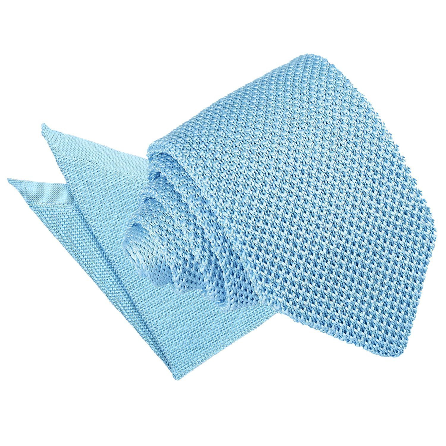 752dd3fecf76 DQT Knit Knitted Plain Baby Blue Casual Men's Slim Tie Handkerchief ...
