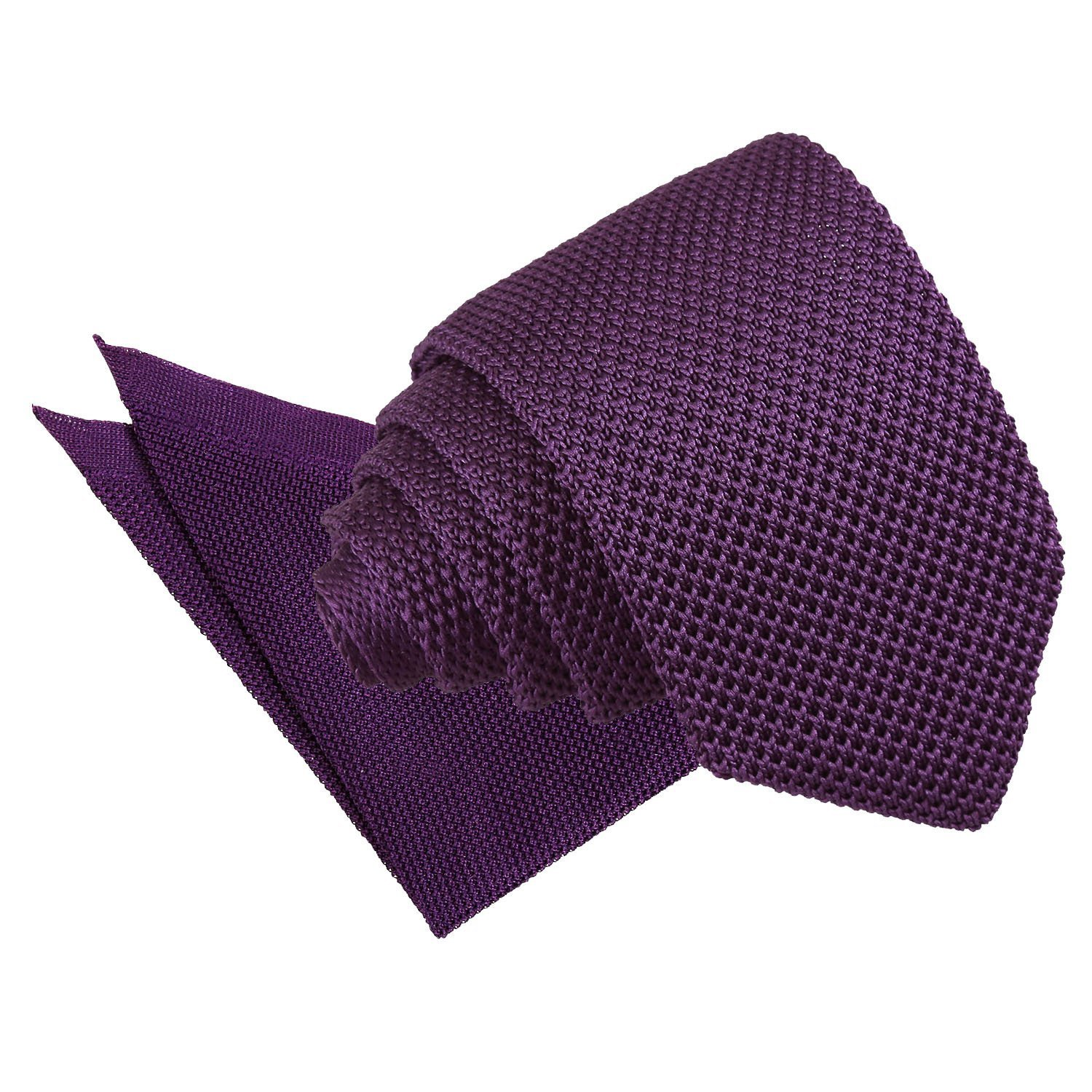 30dd80828227 Tangerine Knitted Slim Tie & Pocket Square Set. Cadbury Purple ...