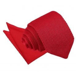 Tangerine Knitted Slim Tie & Pocket Square Set