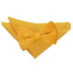 Tangerine Knitted Bow Tie & Pocket Square Set