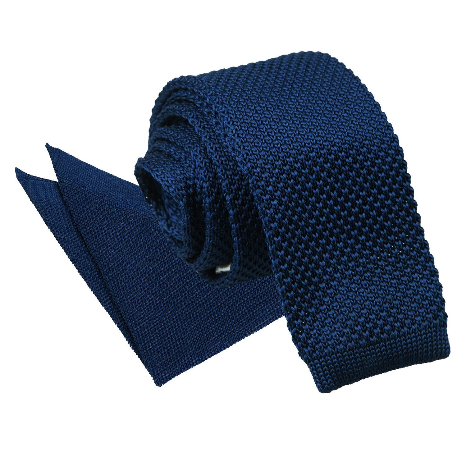 Navy Blue Mens Bow Tie Knit Knitted Plain Solid Pretied Necktie by DQT