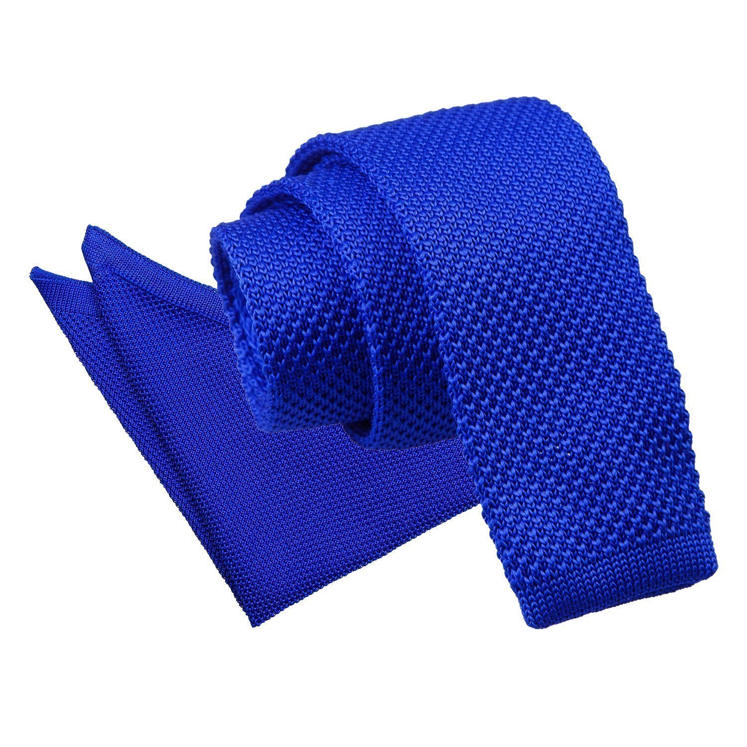 2982204d6c4f Details about DQT Knit Knitted Plain Royal Blue Casual Men's Skinny Tie  Handkerchief Set