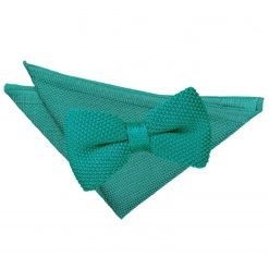 Teal Knitted Bow Tie & Pocket Square Set