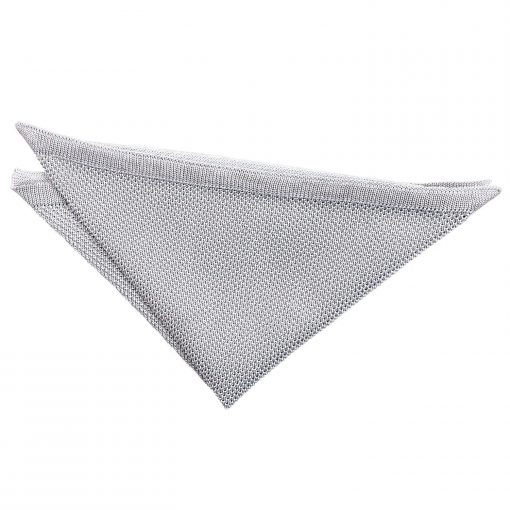 Silver Knitted Handkerchief / Pocket Square