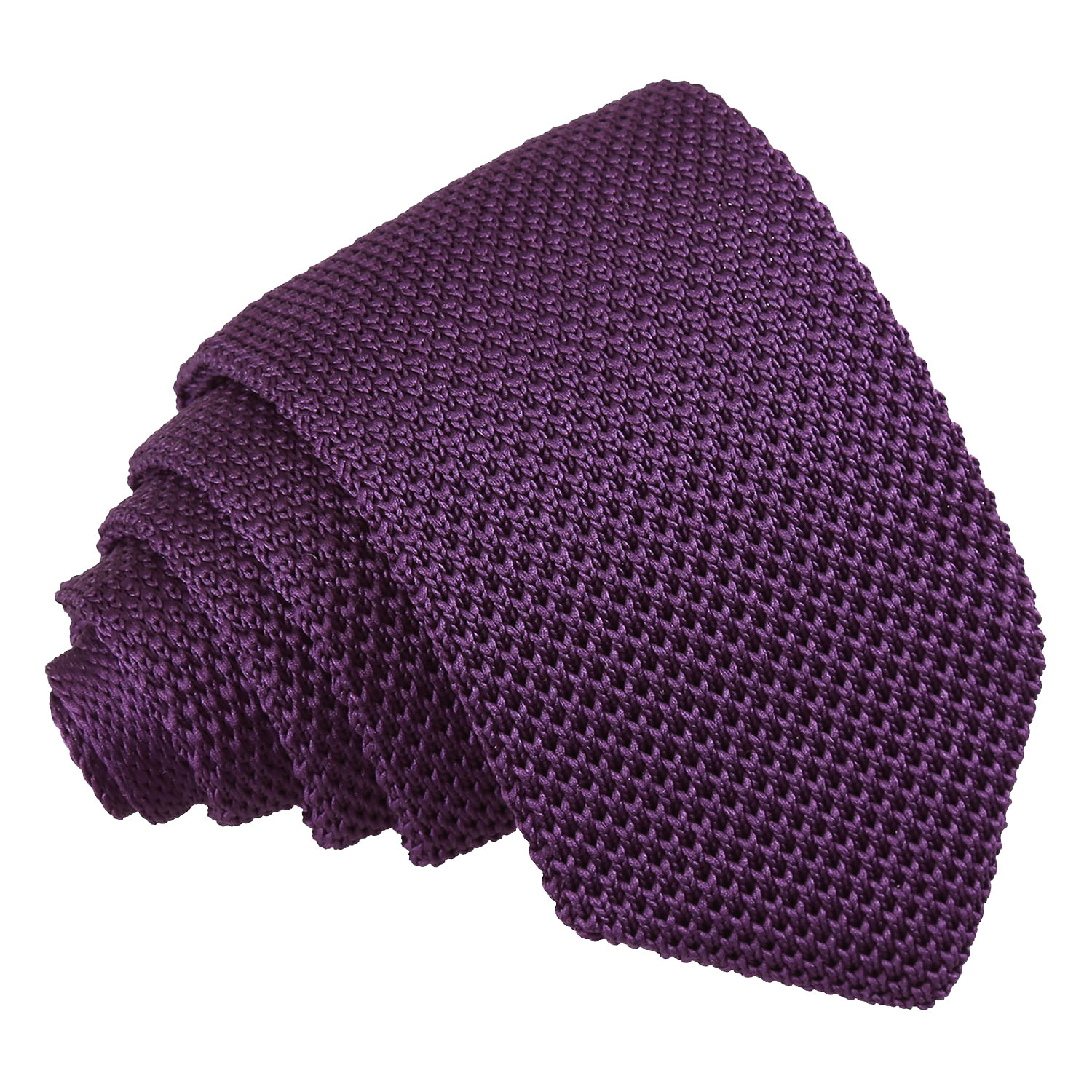 DQT Knit Knitted Plain Solid Burgundy Casual Mens Skinny Tie