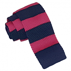 Hot Pink & Navy Striped Knitted Skinny Tie