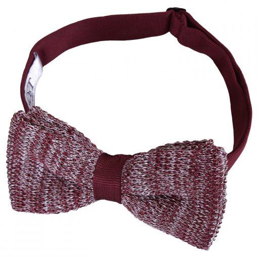 Burgundy Melange Plain Speckled Knitted Pre-Tied Bow Tie
