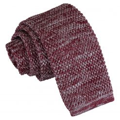 Burgundy Melange Plain Speckled Knitted Skinny Tie