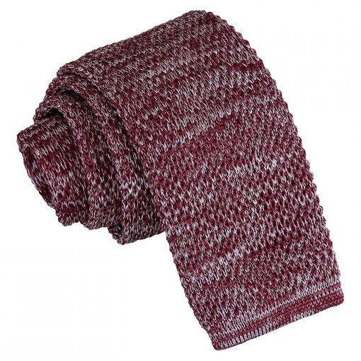 Burgundy Melange Plain Speckled Knitted Skinny Tie