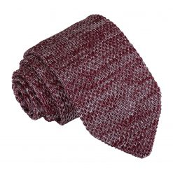 Burgundy Melange Plain Speckled Knitted Slim Tie